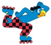 Globi Strassenwarntafel Skater