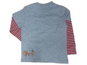 Glöbeli Langarm T-Shirt grau /rot gestreift 86/92