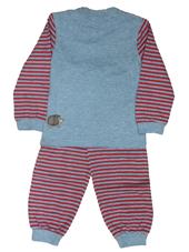 Glöbeli Langarm Pyjama grau/rot gestreift 98/104