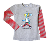 Globine Langarm-Shirt grau/rot gestreift Kopfhörer 122/128