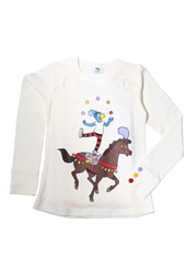 Globine Langarm-Shirt beige Zirkuspferd 134/140