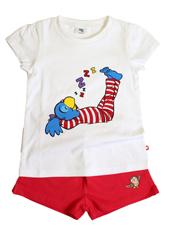 Globine Shorty Pyjama rot/weiss Globine schlafend 134/140