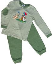 Glöbeli Pyjama oliv/weiss gestreift Hund 86/92