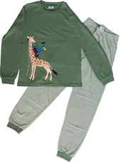Globi Pyjama oliv/weiss gestreift Giraffe 122/128