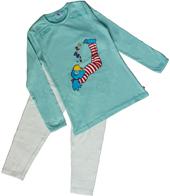 Globine Pyjama langarm türkis/weiss gepunktet 122/128