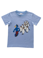 Globi T-Shirt blau/weiss gestreift Pinguin 122/128