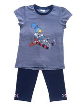 Globine Pyjama Capri marine/weiss gestreift 110/116