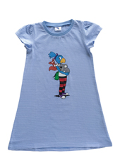 Globine Sleep-Shirt hellblau/weiss gestreift 110/116