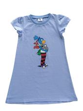 Globine Sleeping-Shirt hellblau/weiss gestreift 134/140