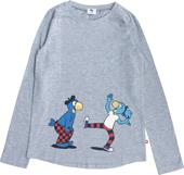 Globine T-Shirt langarm Globi u. Globine hellgrau 110/116
