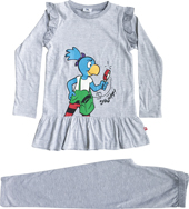 Globine Pyjama hellgrau/weiss gestreift Lupe 98/104