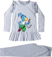 Globine Pyjama langarm hellgrau/weiss gestreift Lupe 122/128