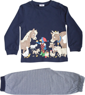 Glöbeli Pyjama langarm dunkelblau Bauernhoftiere 86/92