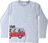 Globi T-Shirt langarm hellgrau/weiss gestreift 110/116