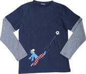 Globi T-Shirt langarm dunkelblau Fussballer 134/140